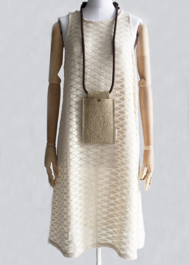 Eco-friendly dress with vegan leather mobile phone bag